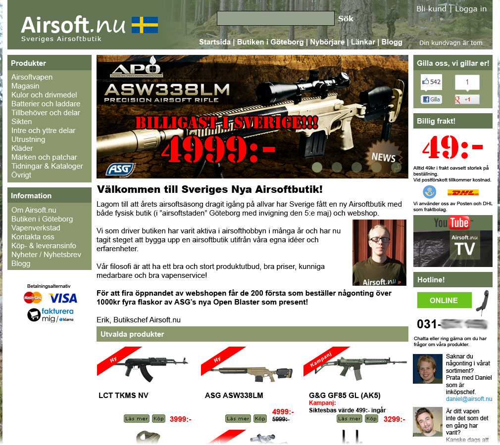 Airsoft.nu's webshop gjord i Photoshop.