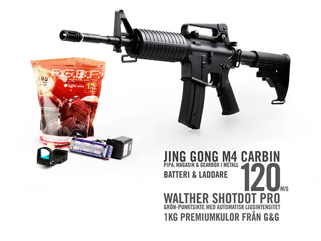 Cabom: Jing Gong M4 Carbine komplett med Walther ShotDot Pro (grönpunktsikte med automatisk ljusintensitet), laddare, batteri samt 1kg kulor från G&G!
