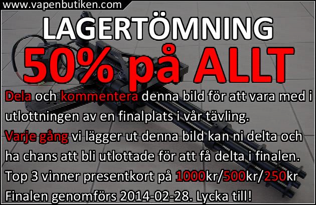 Vapenbutiken - Lagertömning - 50% på ALLT + TÄVLING