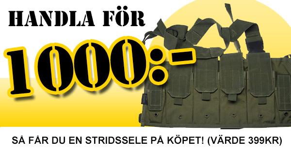 Från och med imorgon så skickar vi med en stridssele helt gratis på alla beställningar över 1000kr!