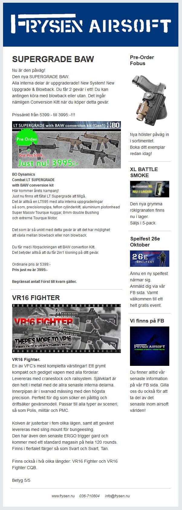 Frysen Airsoft nyhetsbrev oktober 2014