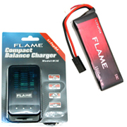 Flame 9.9v 1500mAh (15C) LiFePO4 battery pack  och Flame' compact LiFePO4 balance charger for 9,9v/6,6v från Airsoftbutiken