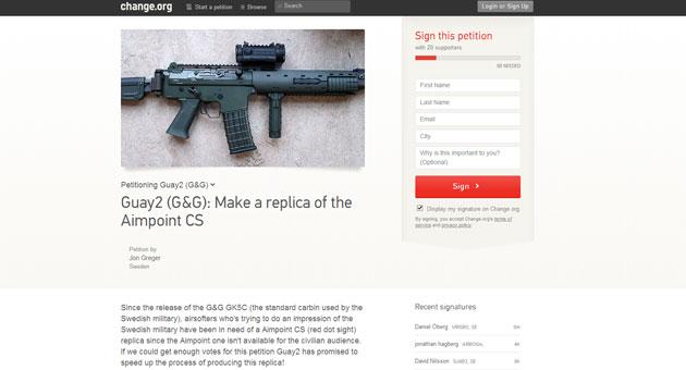 Namninsamling till G&G Armament för rödpunktssiktet Aimpoint CS