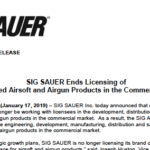 Sig Sauer slutar licensiera SIG-produkter till andra