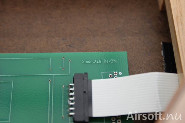The circuit board with the text SmartAsh Rev2b.